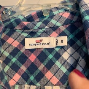 Girls VV plaid flannel dress N w/o T